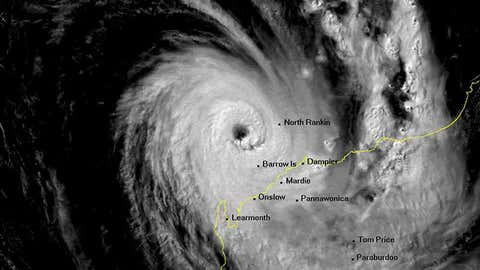Visible satellite image of Tropical Cyclone Olivia nearing the northwest Australian coast on April 10, 1996