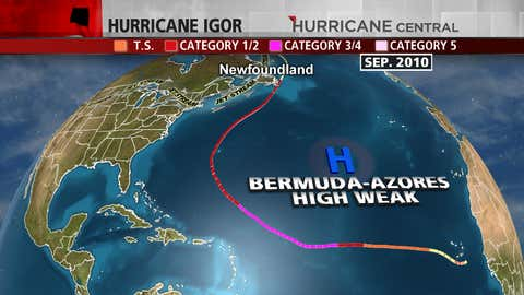 Track of Hurricane Igor and positions of the jet stream and Bermuda-Azores high in late September 2010.