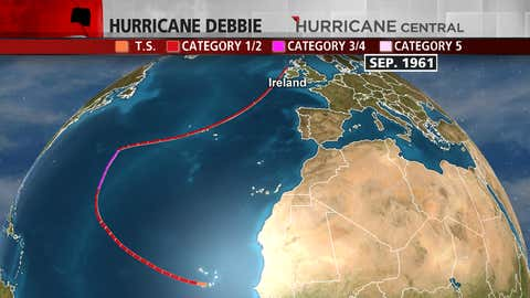 Track of Hurricane Debbie in September 1961 from near the Cape Verde Islands to northwest Ireland.