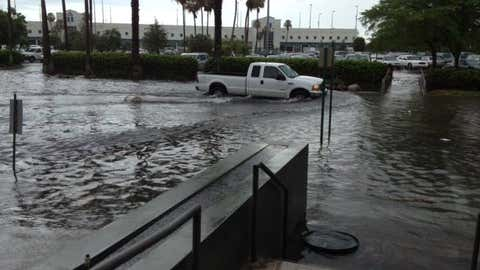 'This is the scene in many areas across Miami-Dade and Broward Counties. Location: near the Miami International Airport. Pic courtesy of Adrian Linares.' (NWS Miami/Adrian Linares)