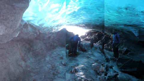 A composite image of researchers at the glacier. (Cathy L. Connor)