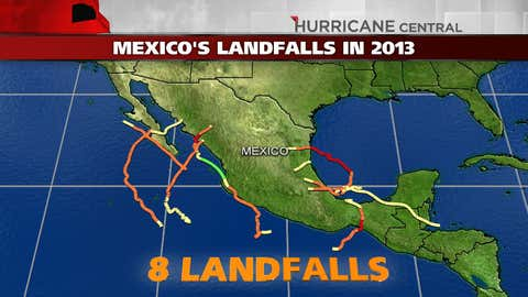 There have been eight landfalling tropical storms or hurricanes in Mexico in 2013, through Sonia on Nov. 4, 2013.