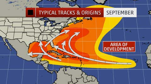 Typical named storm tracks and origins in September. Darker orange/red areas indicate most likely formation/track areas.