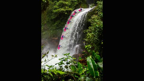 Ben Marr tumbles down the waterfall in Vera Cruz, Mexico.