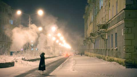 Winters are long and cold in Norilsk, Russia, with an average temperature of minus 31 degrees Celsius (minus 23 degrees F) in January. Days are characterized by frost, coupled with strong and violent winds. The cold period extends for about 280 days per year, with more than 130 days of snowstorms. (Elena Chernyshova)
