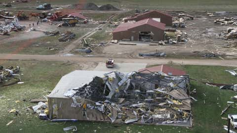 This photo shows damage from a tornado, Saturday, Oct. 5, 2013 in Wayne, Neb. As many as nine tornadoes hit an area covering northeast Nebraska and northwest Iowa, causing structural damage and injuries but no fatalities, the National Weather Service said Saturday. (AP Photo/Nebraska State Patrol)