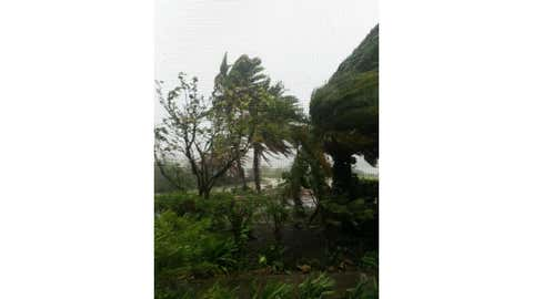 Gonzalo hits Antigua on Oct. 13, 2014, as a Tropical Storm. By Friday, Oct. 17, it was a Category 2 hurricane, making landfall on Bermuda. (Twitter/@ChinU_MD)