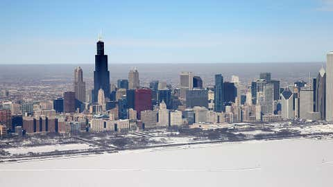 Ice covers the shoreline of Lake Michigan on Feb. 18, 2014 in Chicago, Ill. This winter's prolonged cold weather has caused more than 88 percent of the Great Lakes to be covered in ice which is near the record of 95 percent set in Feb. 1979.  (Scott Olson/Getty Images)