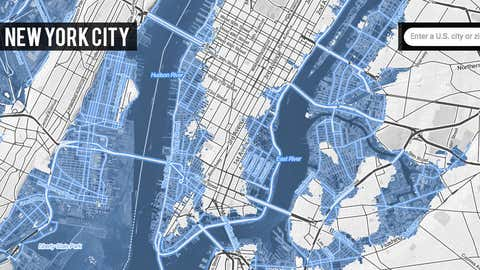 What New York City will look like thanks to sea level rise with 2 degrees Celsius of global warming. (Credit: Climate Central)