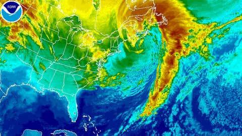 NOAA satellite image of Winter Storm Quintus on Sunday morning, Feb. 16, 2014.
