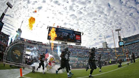 The Jacksonville Jaguars takes the field during a game against the Jacksonville Jaguars at EverBank Field on December 23, 2012 in Jacksonville, Florida.  (Mike Ehrmann/Getty Images)