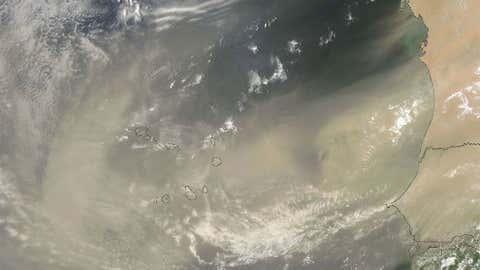 Dust over the Atlantic Ocean on July 30, 2013.