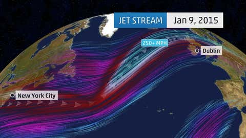 ECMWF (European) model jet stream analysis over the North Atlantic Ocean on January 9, 2015. The strongest winds are denoted by the light teal wind streams.