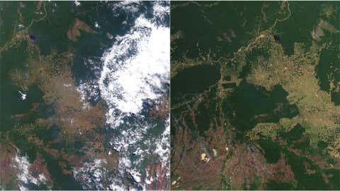 These two photos show deforestation in the Amazon rainforest. The one on the left is from 2000, the one on the right from 2012. (NASA)