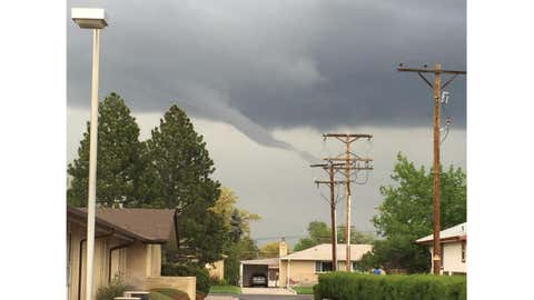 A funnel cloud was spotted in Brighton, Colorado, on May 7, 2015. (Photo Credit: Moe Maestas)