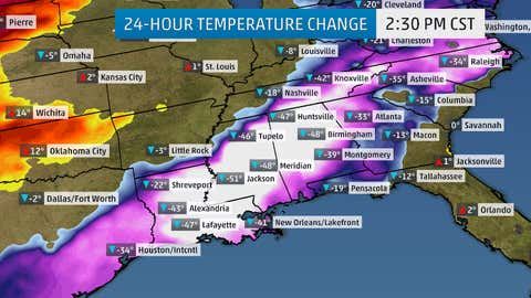 24-Hour temperature change between Wednesday, March 4 and Thursday, March 5.