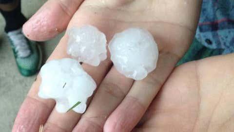 Hail in Denton. (Photo: Twitter/Joshua Freimel)