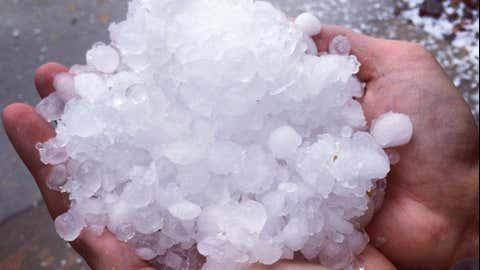 A huge handful of hail after a storm swiped suburban Denver Monday afternoon. (Instagram/senoritajustice)