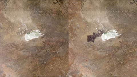 These images, taken just 11 days apart in June 2012, shows a controlled burn in Namibia's Etosha National Park. (NASA)