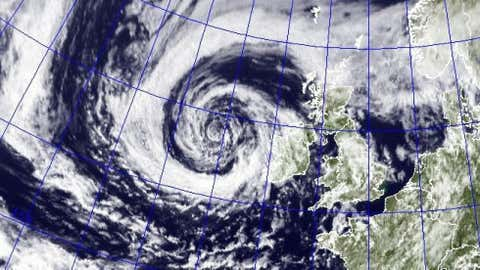 An exceptionally strong cyclone for midsummer spirals toward the Olympics. (Credit: Naval Research Laboratory NexSat)
