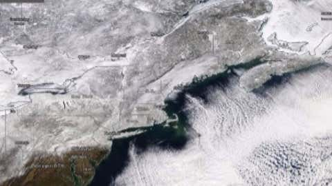 Figure 1: NASA MODIS image Feb 3, 2015 showing the snow cover over the Northeast in the wake of Winter Storm LINUS, the third in a series of storms that blasted the Northeast with snow.