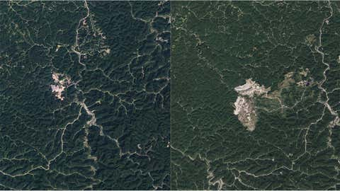 Mountaintop mining has changed the face of parts of the Appalachians, like where Hobet Mine (above) started and has expanded. The photo on the left was taken on September 17, 1984, the one on the right September 17, 2013. (NASA)