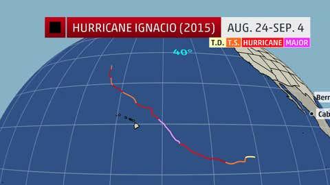 The historical track of Hurricane Ignacio.