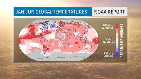 January-June 2015 global temperature percentiles. Darkest red areas indicate record warmth over the first six months of any year. Darkest blue areas indicate those areas with record cold for January-June 2015. Gray areas indicate missing data. (NOAA/NCEI)