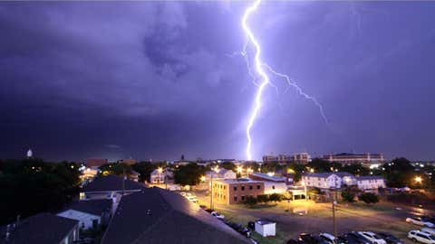 Kurt Steiss captured this lightning strike near the Oklahoma State University campus in Stillwater Saturday. (Instagram/KurtSteiss)