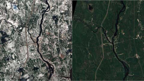 Small-town Maine in April (left) and October 2008 (right). (NASA)