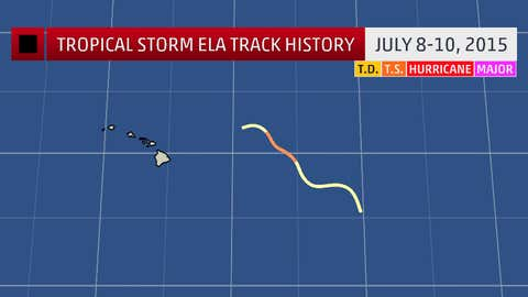 Tropical Storm Ela track history in the central Pacific Ocean.