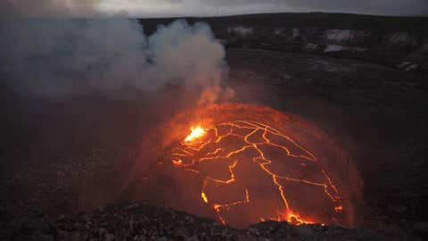 Estimated at between 300,000 and 600,000 years old, Kilauea is the youngest of the five volcanoes that make up Hawaii's Big Island. Tradition holds that Kilauea is the home of the Hawaiian volcano goddess Pele, who has expressed her anger in nearly continuous eruptions over the past century. (USGS Hawaiian Volcano Observatory)