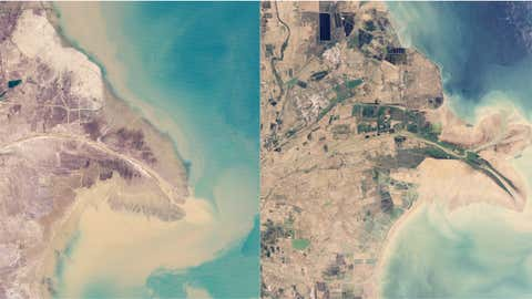 China's Yellow River has the most sediment of any river in the world, so when it changes, it's very visible, like in the two images above, from February 1989 and June 2009. (NASA)