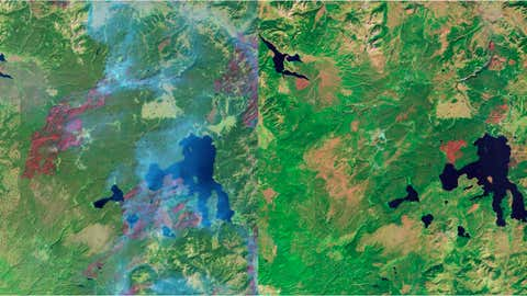 Massive wildfires struck Yellowstone National Park in 1988 (left image). Even 23 years later, the park is still recovering, as seen in the image on the right, from 2011. (NASA)