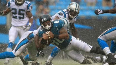 Mike Thomas #80 of the Jacksonville Jaguars scores a touchdown against the Carolina Panthers during their game at Bank of America Stadium on Sept. 25, 2011, in Charlotte, N.C.  (Streeter Lecka/Getty Images)