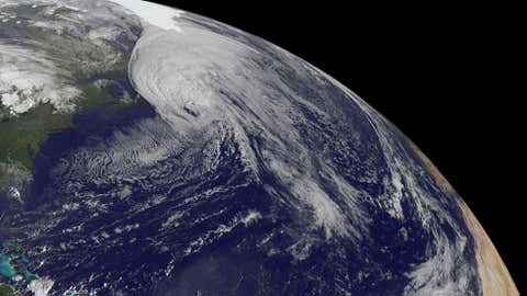 Satellite image of Hurricane Igor sweeping by Newfoundland, Canada on Sep. 21, 2010. (NOAA)