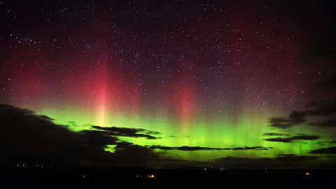 The Northern Lights seen near Hallbankgate in North Cumbria, on Feb. 27, 2014. (Stuart Walker/Caters News Agency)