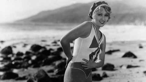 Circa 1929:  Actress Joan Blondell is seen modeling on the beach. (Hulton Archive/Getty Images)