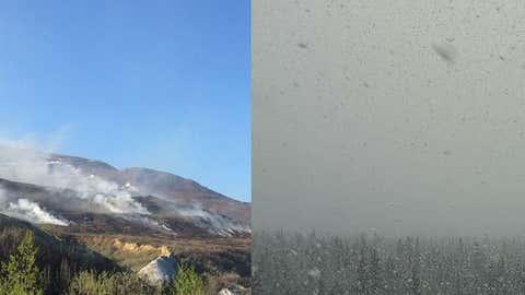 A coal seam fire burns near Healy, Alaska on May 18, 2015 (left; Alaska Division of Forestry). Snow falls in Delta Junction, Alaska on June 1, 2015 (right; FAA/NWS-Fairbanks).