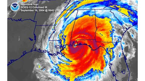 An infrared satellite image of Hurricane Ivan shortly after landfall.