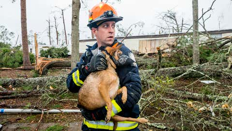 Austin Rishel a firefighter from Dalton, Ga. holds a dog he found hiding outside a mobile home in the Big Pine Estates community of Albany, Ga., Monday, Jan. 23, 2017, after tornadoes hit the area the day before. According to rescue workers the dog was later reunited with its owners. (Colin Hackley / weather.com)