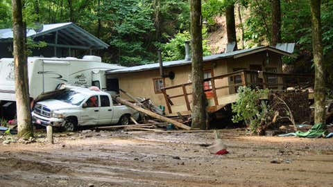 View of damage in the Albert Pike Recreation Area in Montgomery County, Arkansas, following the deadly June 2010 flash flood. (NWS-Little Rock)