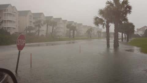 The west end of Ocean Isle Beach, North Carolina experienced flooding from Tropical Storm Ana on May 10, 2015.