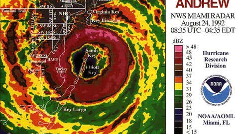 Radar image of Hurricane Andrew at landfall in South Florida on August 24, 1992. (NOAA/AOML)
