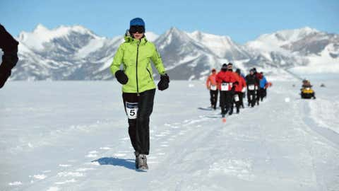 One of the world's most extreme environments awaits runners at the Antarctic Ice Marathon, where the wind chills routinely drop below zero out on the race route, a vast white expanse of ice, snow, mountains and glaciers. (Courtesy Richard Donovan)