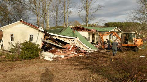 Tornadoes ravaged homes and property between the Helicon Communities and Arley on County Rd. 77 in Winston County, Ala. Wednesday, Nov. 30, 2016.  (Joe Songer /AL.com via AP)
