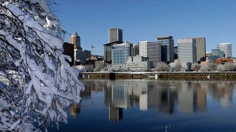 Snow and ice cling to tree limbs as downtown Portland, Ore., is reflected in the Willamette River under blue skies, Thursday, Jan. 12, 2017. Schools were closed and more than 5,000 Portland General Electric customers remained without power Thursday as the Portland area recovers a snowstorm. (AP Photo/Don Ryan)