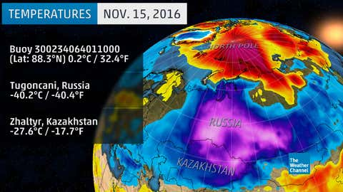 Some temperatures, with cold (Russia, Kazakhstan) and warm (North Pole) departures from average contours, on November 15, 2016.