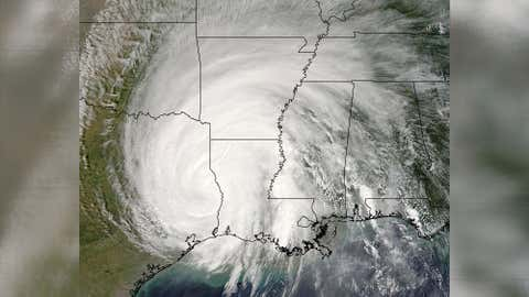 A satellite image of Hurricane Rita as it moved toward Arkansas on Sept. 23, 2005.
