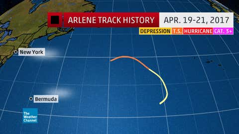 Track history of Tropical Storm Arlene from April 19-21, 2017.